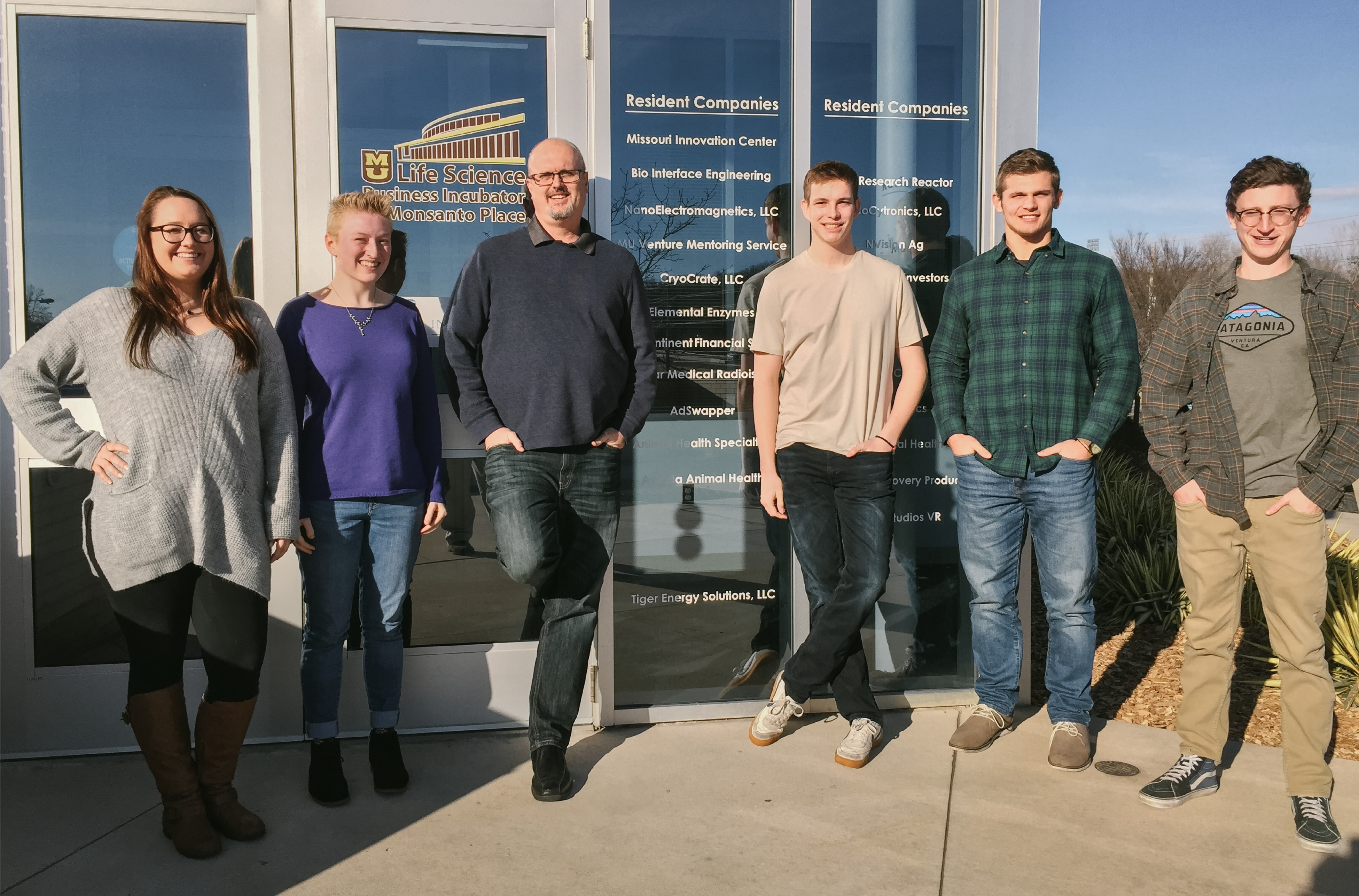 The AdSwapper team outside the Life Science Business Incubator in Columbia, Missouri.